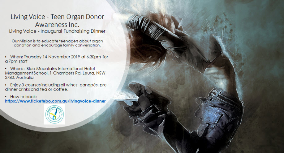 Living Voice – Teen Organ Donor Awareness Inc. Inaugural Fundraising Dinner