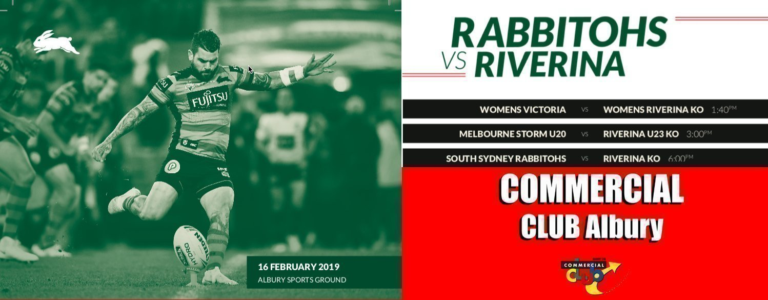 SOUTH SYDNEY RABBITOHS V RIVERINA RUGBY LEAGUE ALLSTARS