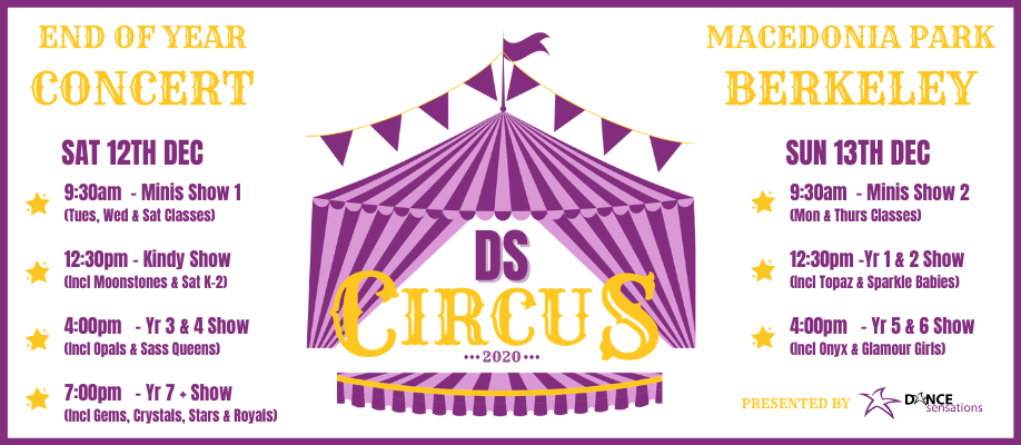 Yr7+ - 7:00 PM, Sat 12 Dec | DS CIRCUS End of Year Concert
