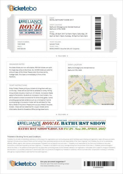 Bathurst Show Sample Ticket