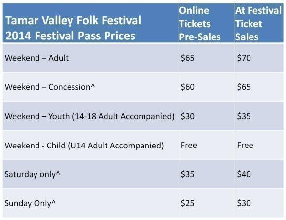 Tamar Valley Folk Festival Pricing
