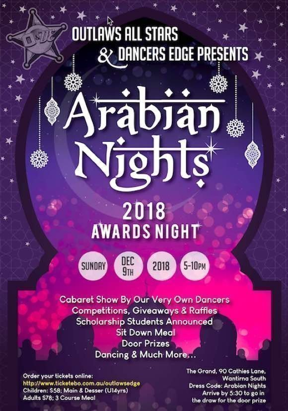Outlaws Edge Arabian Nights ball Flyer