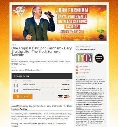 One Tropical Day presents John Farnham tickets