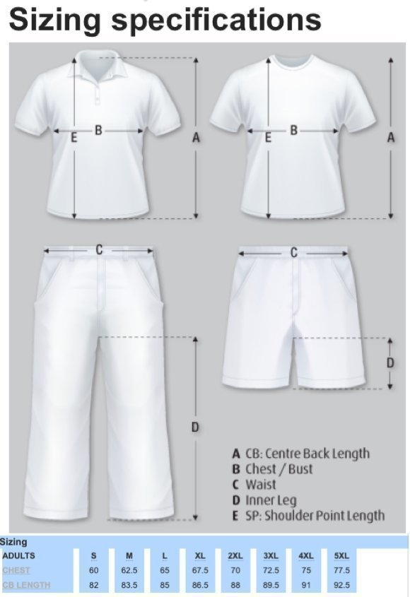 Sizing specifications